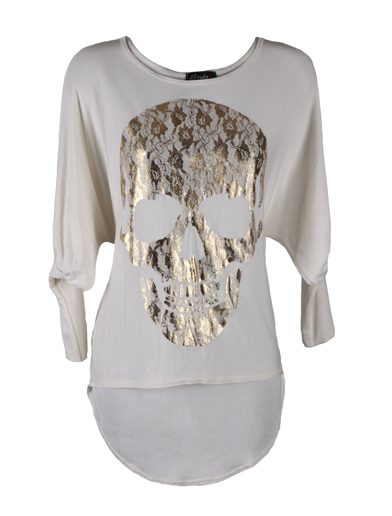 metallic-skull-print-stretchy-batwing-ladies-tops